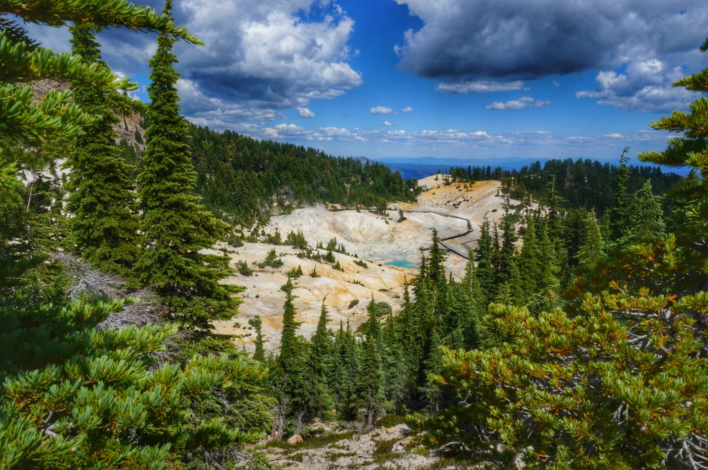 Looking down at Bumpass Hell.