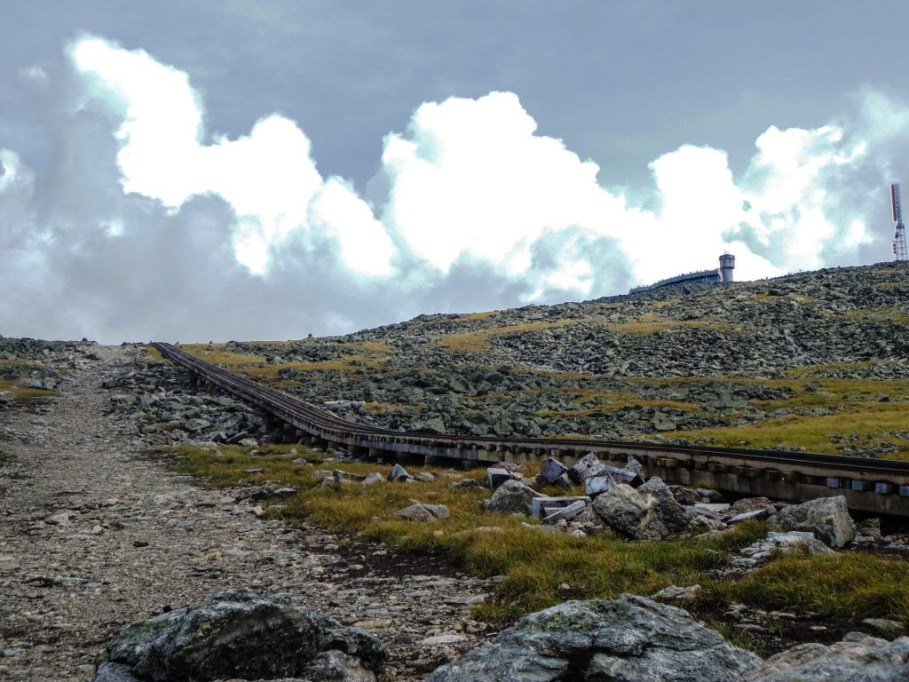 The Cog Railway tracks climbing toward the summit. | Credit: Ryan Wichelns