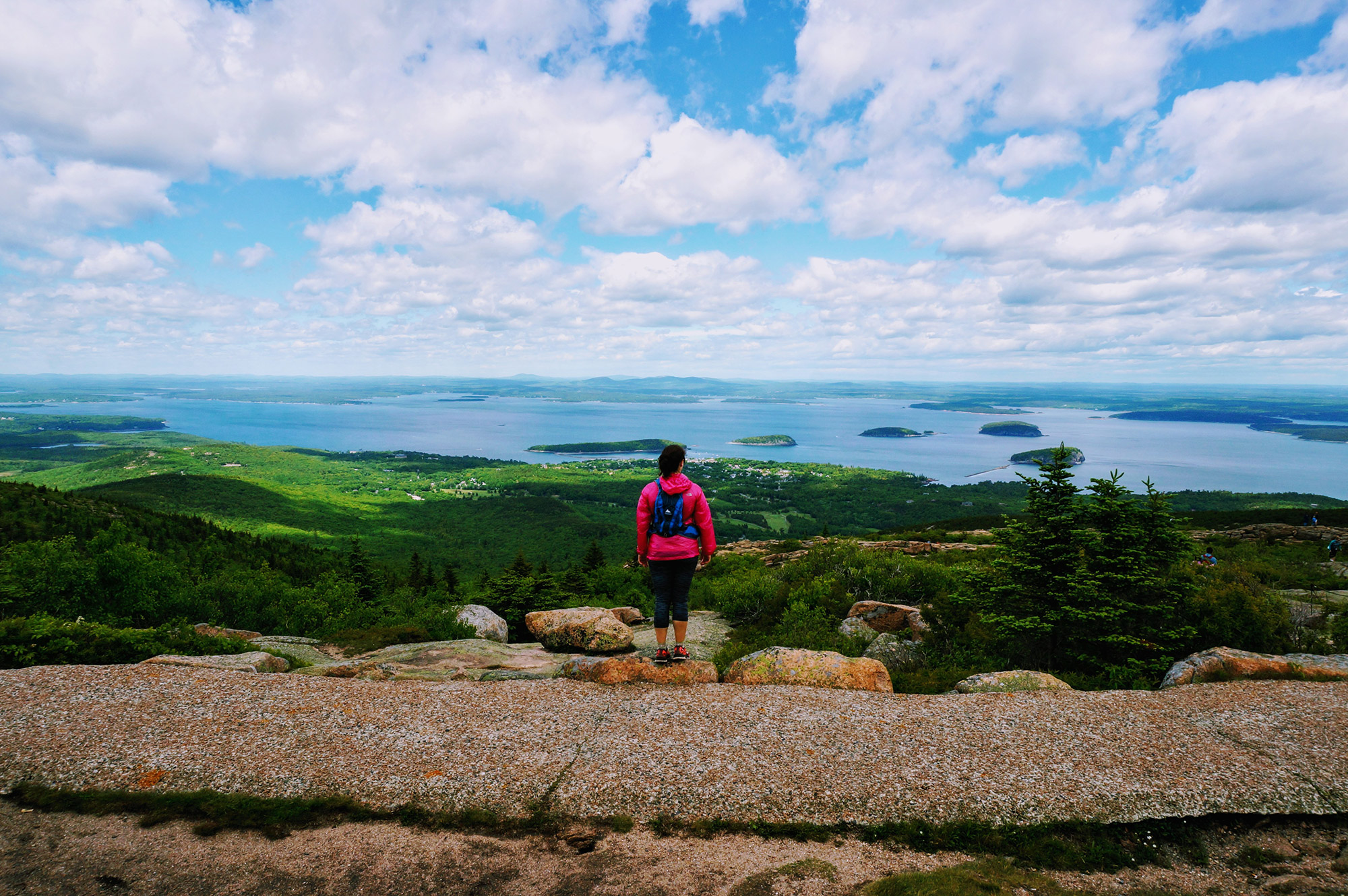 Looking down on Bar Harbor from the summit. | Credit: Tim Peck