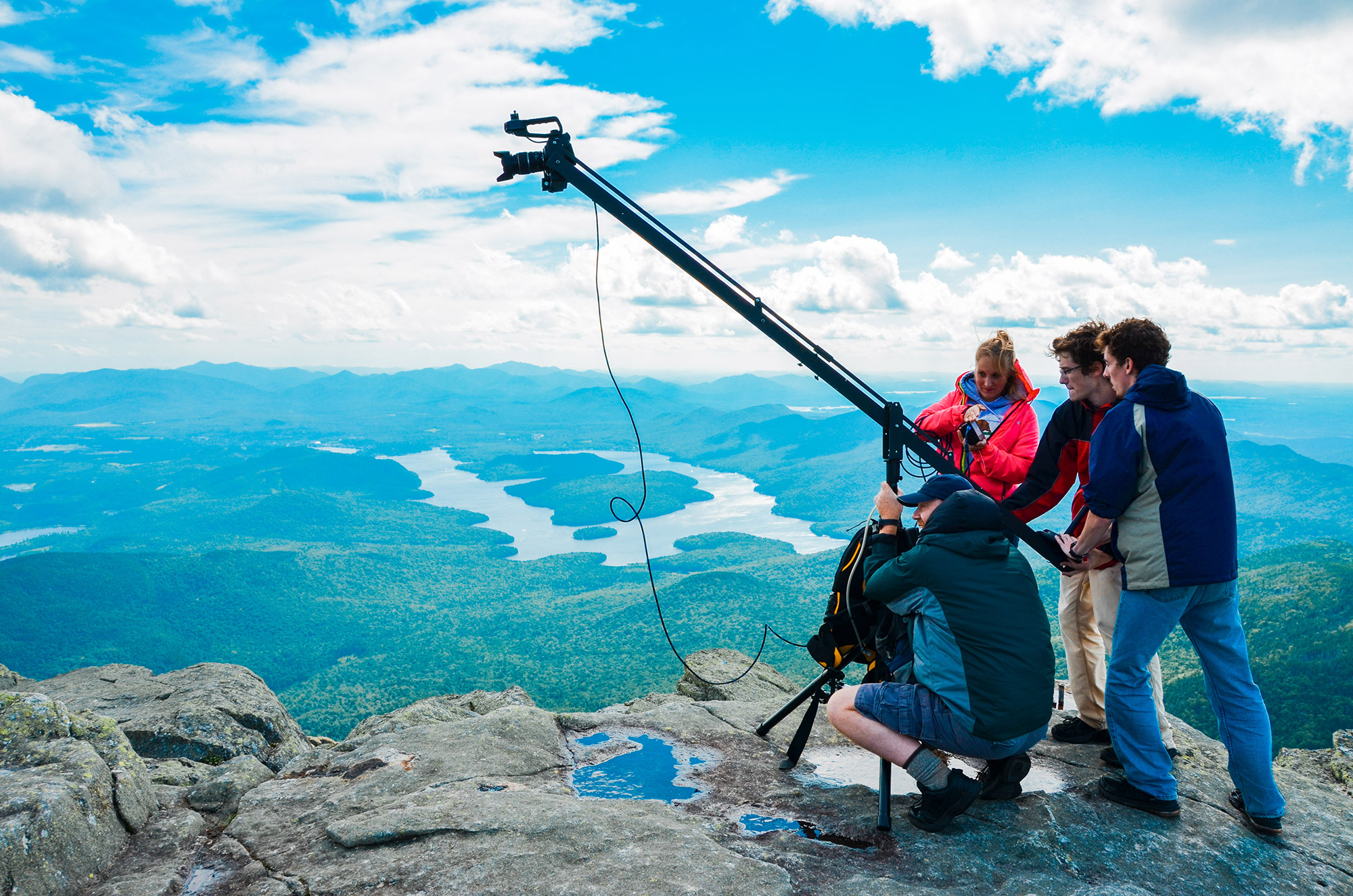 Blake and the team using a boom to film on Whiteface. | Courtesy: Blake Cortright