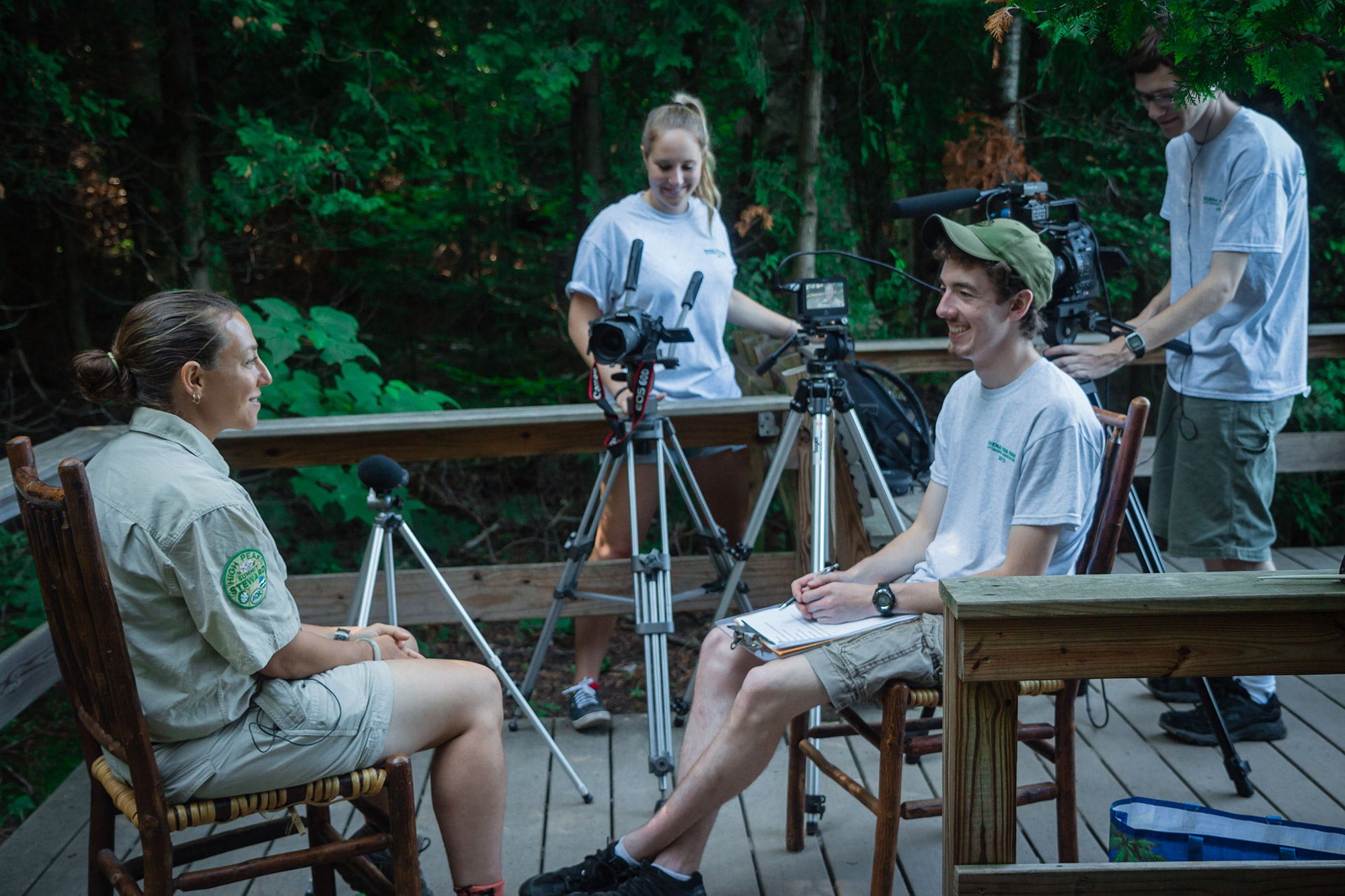 Blake interviewing one of the film's subjects. | Courtesy: Blake Cortright