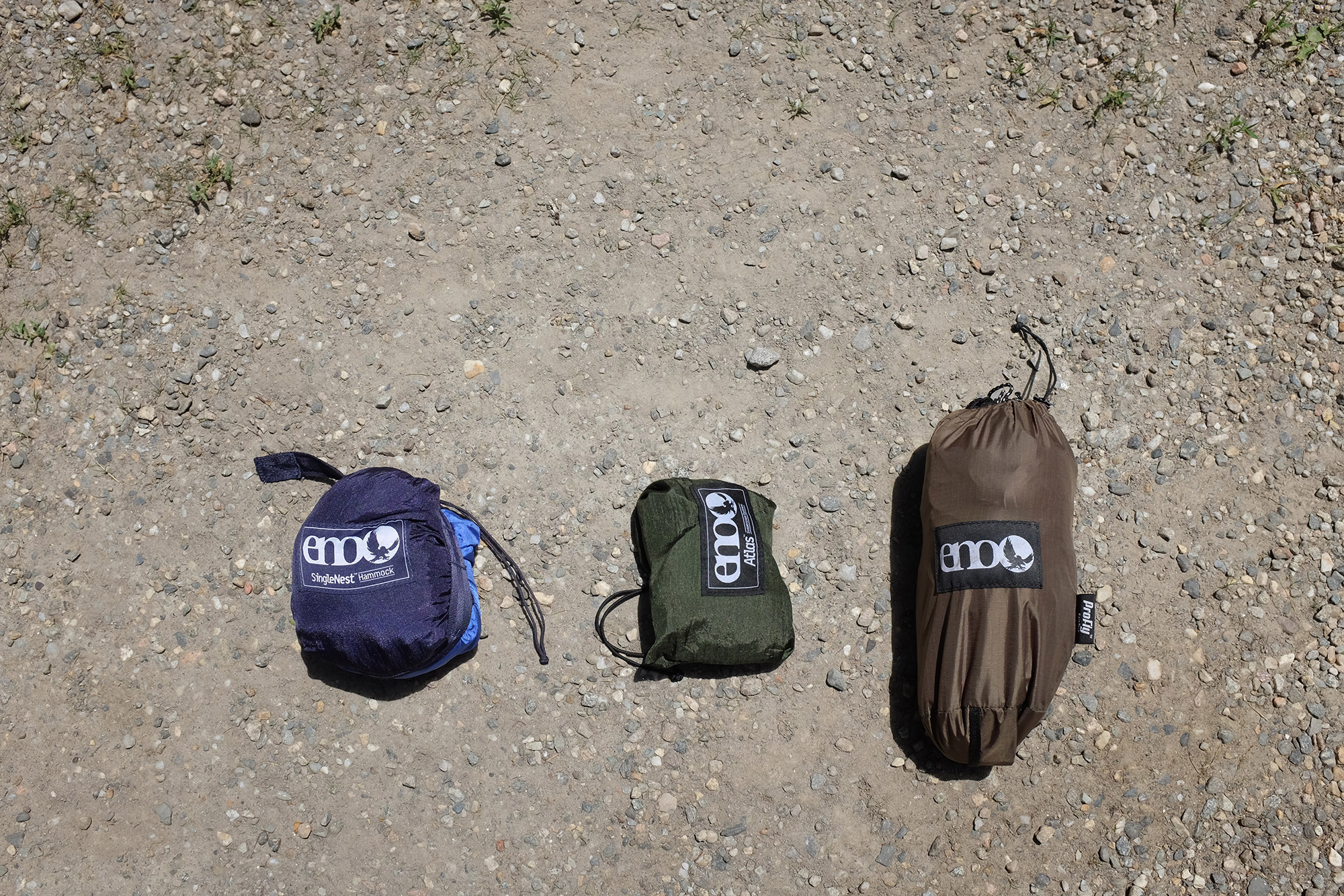 From left to right the packed ENO SingleNest hammock, Atlas Hammock Suspension System, and DryFly Rain Tarp, weighing in at 3lbs 1oz. | Credit: John Lepak
