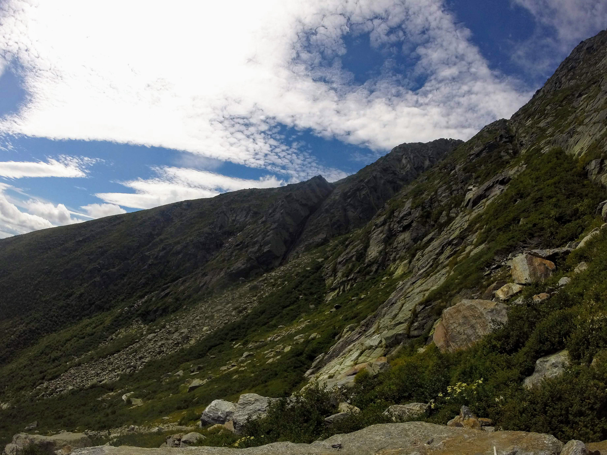 The Pinnacle and the Huntington Ravine Trail.   Credit: Tim Peck