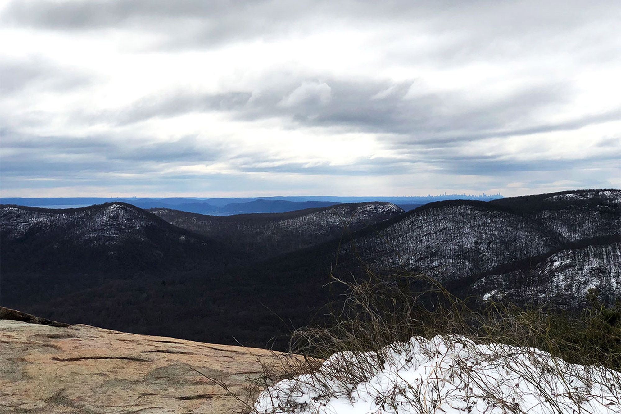 The view south from Bear Mountain's summit, including New York's skyline.   Credit: John Lepak