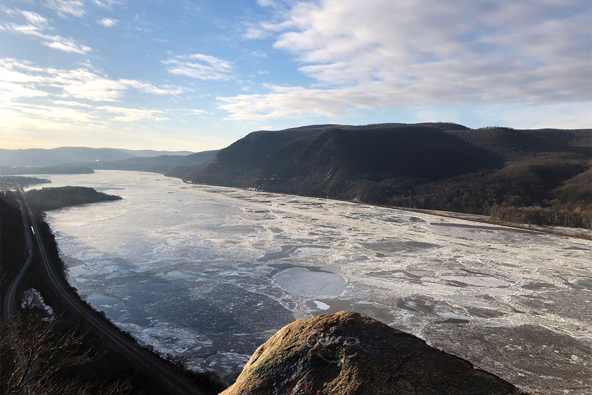 A very icy Hudson River as seen from the top of Breakneck Ridge's opening scramble. | Credit: John Lepak