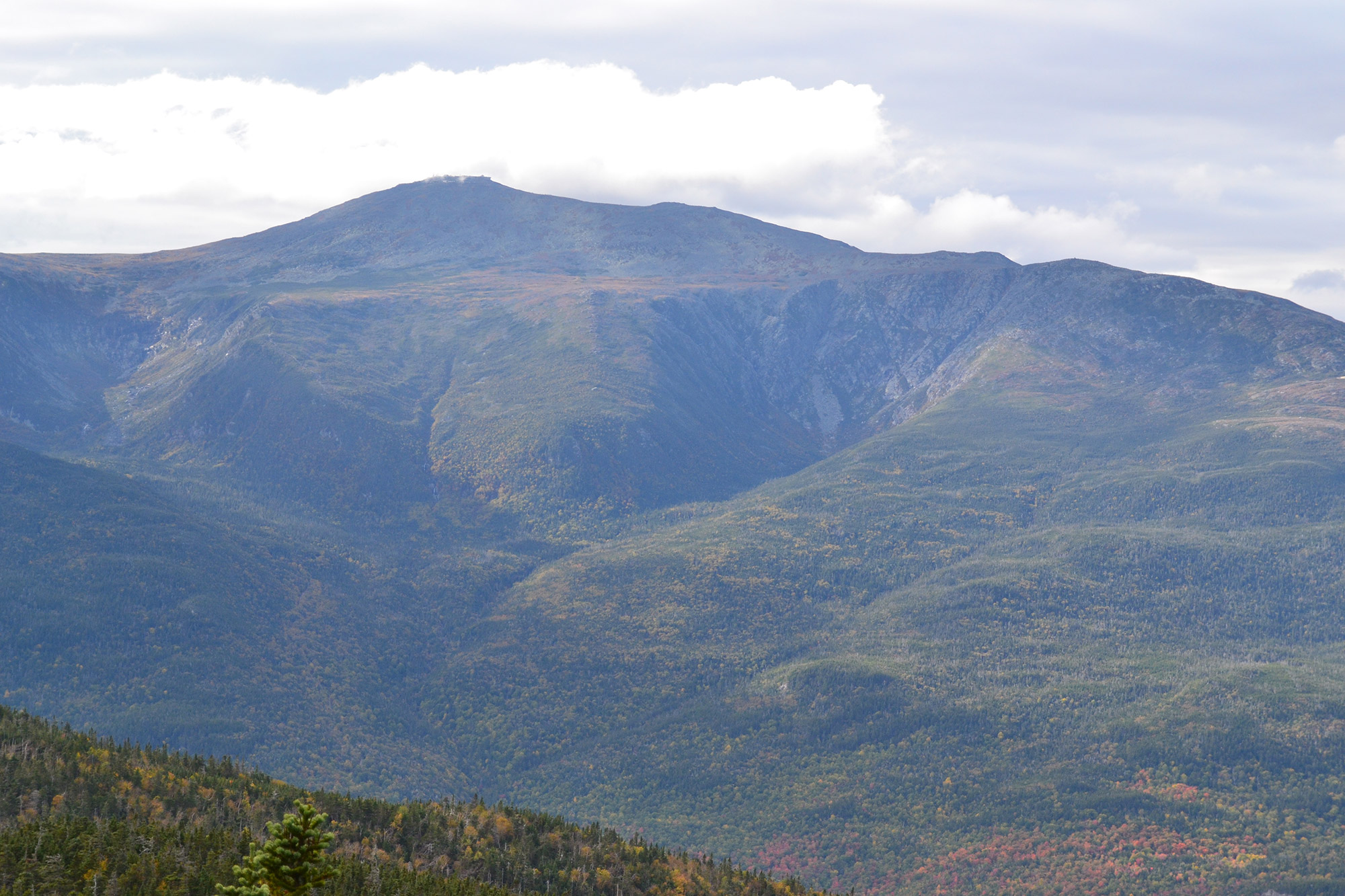 Mount Washington with Tuckerman (left) and Huntington (right) Ravines from below Wildcat C. | Credit: Douglas Martland