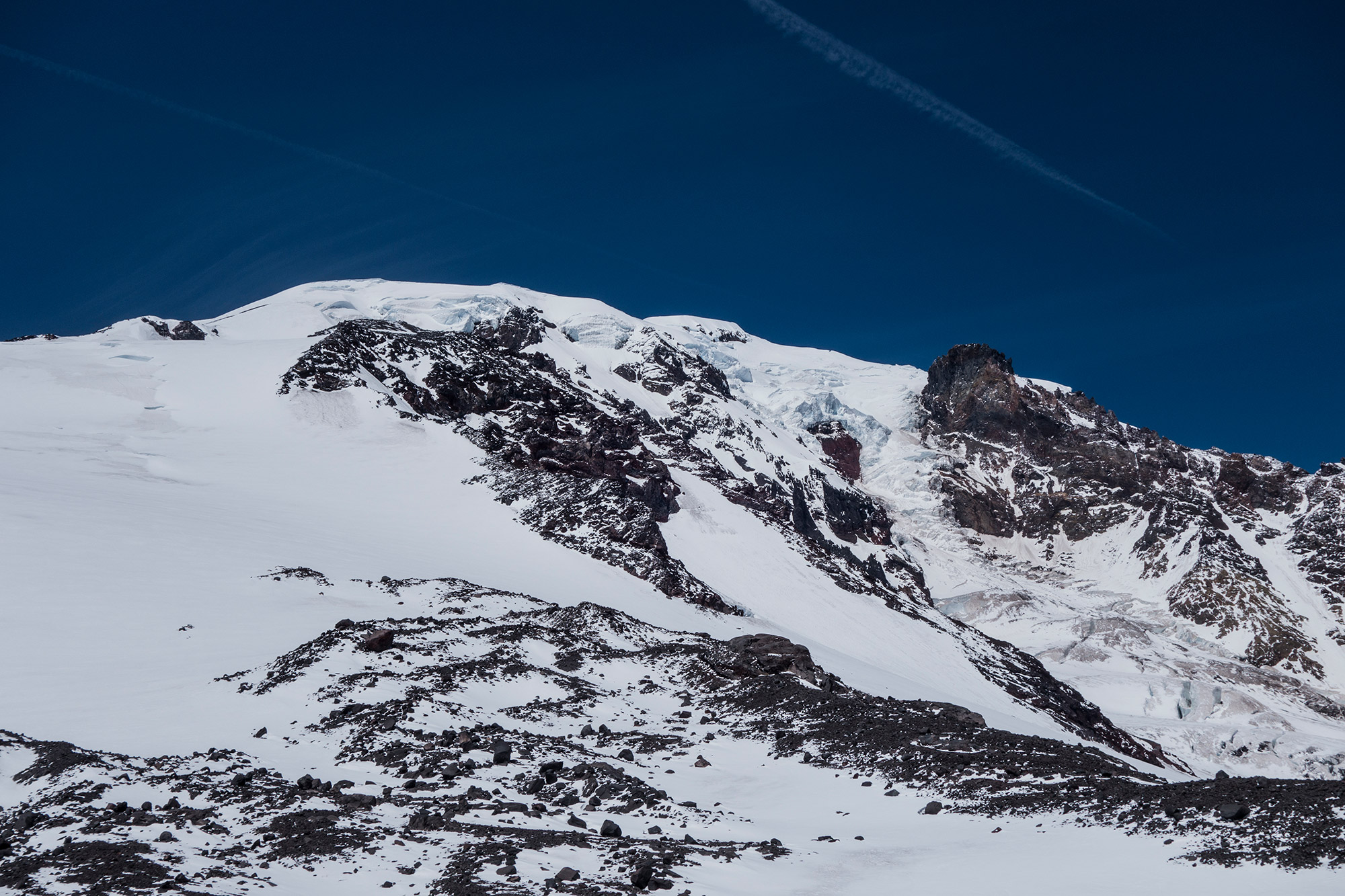 Looking up at Mount Adams from a camp on te nearby Mazama Glacier. The South Ridge is to the left. | Credit: Ryan Wichelns