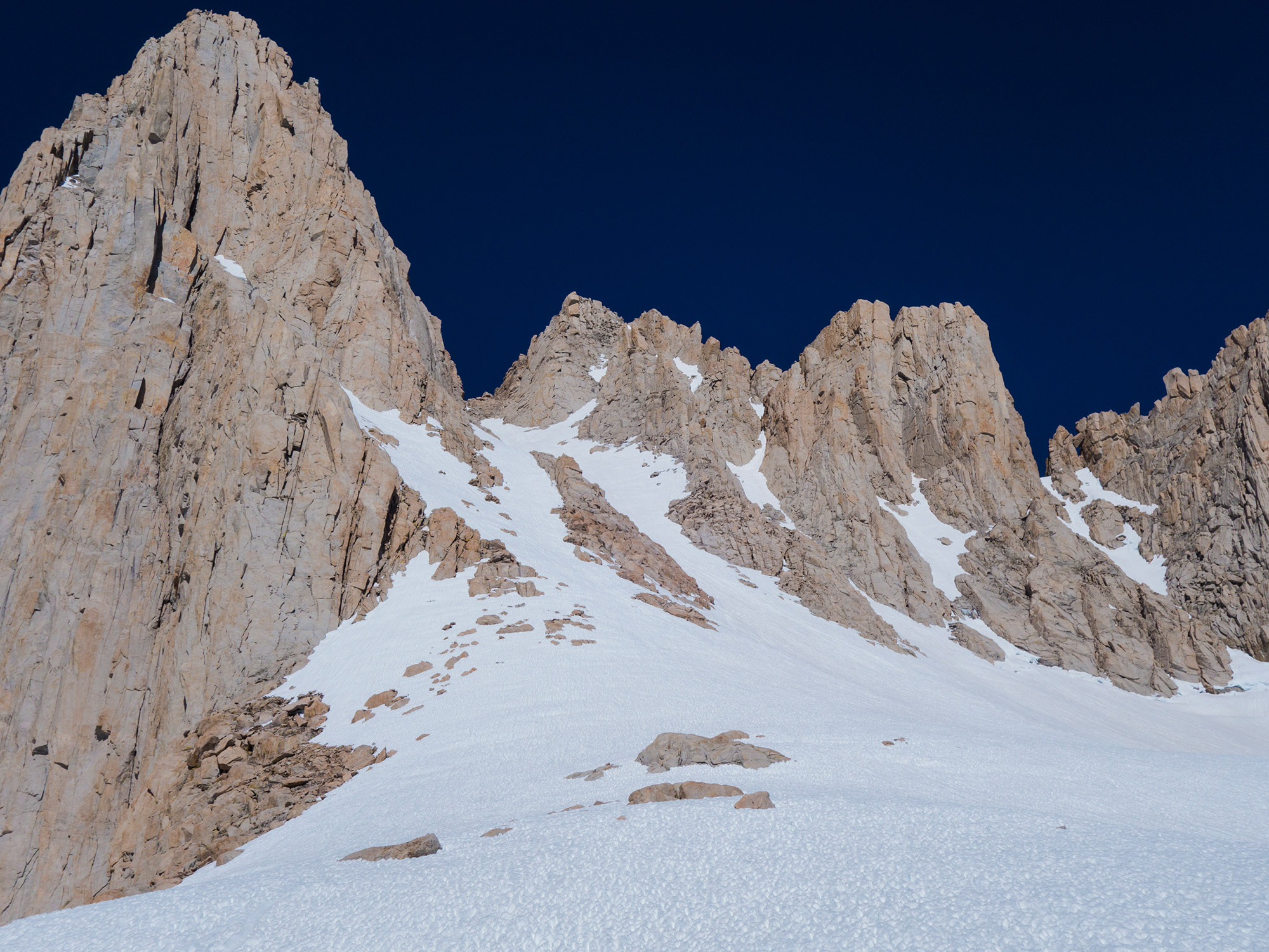 The Mountaineer's Route is the first large snow gully to the right of the summit pinnacle. | Credit: Ryan Wichelns