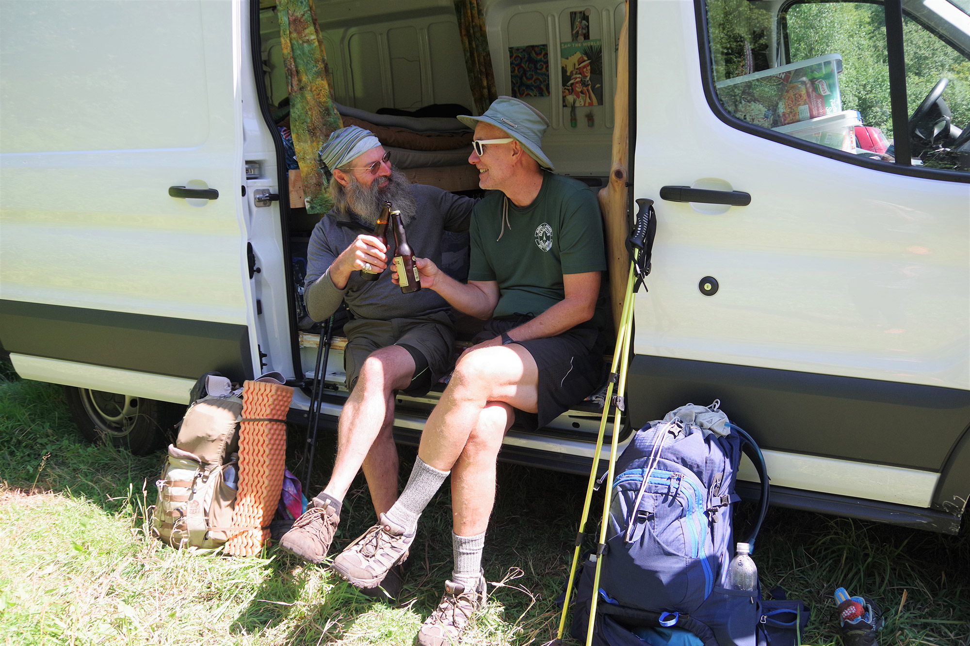 Nothing better than a cold beer after several days on the trail. | Credit: Karen Miller