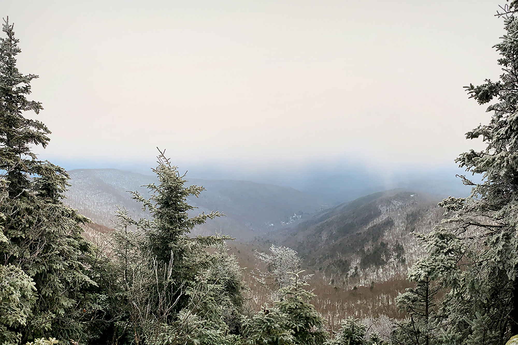 The viewpoint just north of Panther's summit, a little bit obscured by low clouds and flurries. | Credit: John Lepak