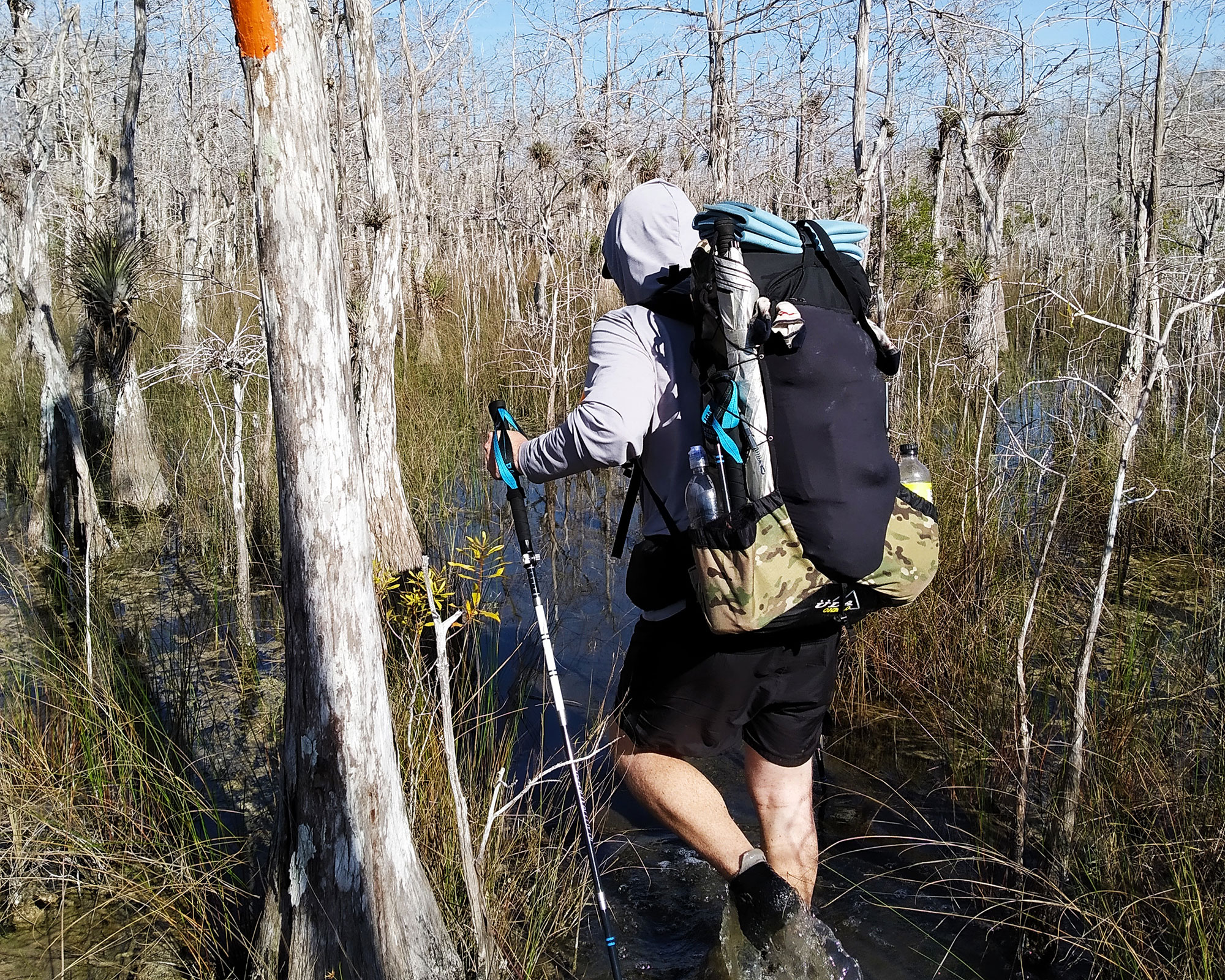 Joe King gets his feet wet on the Florida National Scenic Trail. This 30-mile section of Big Cyprus is located at the southern terminus, and borders the Everglades. | Courtesy: Aaron Landon