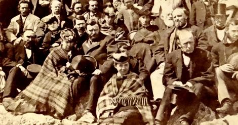 President Grant (center left, holding his hat) atop Mount Washington. | Courtesy: New England Historical Society