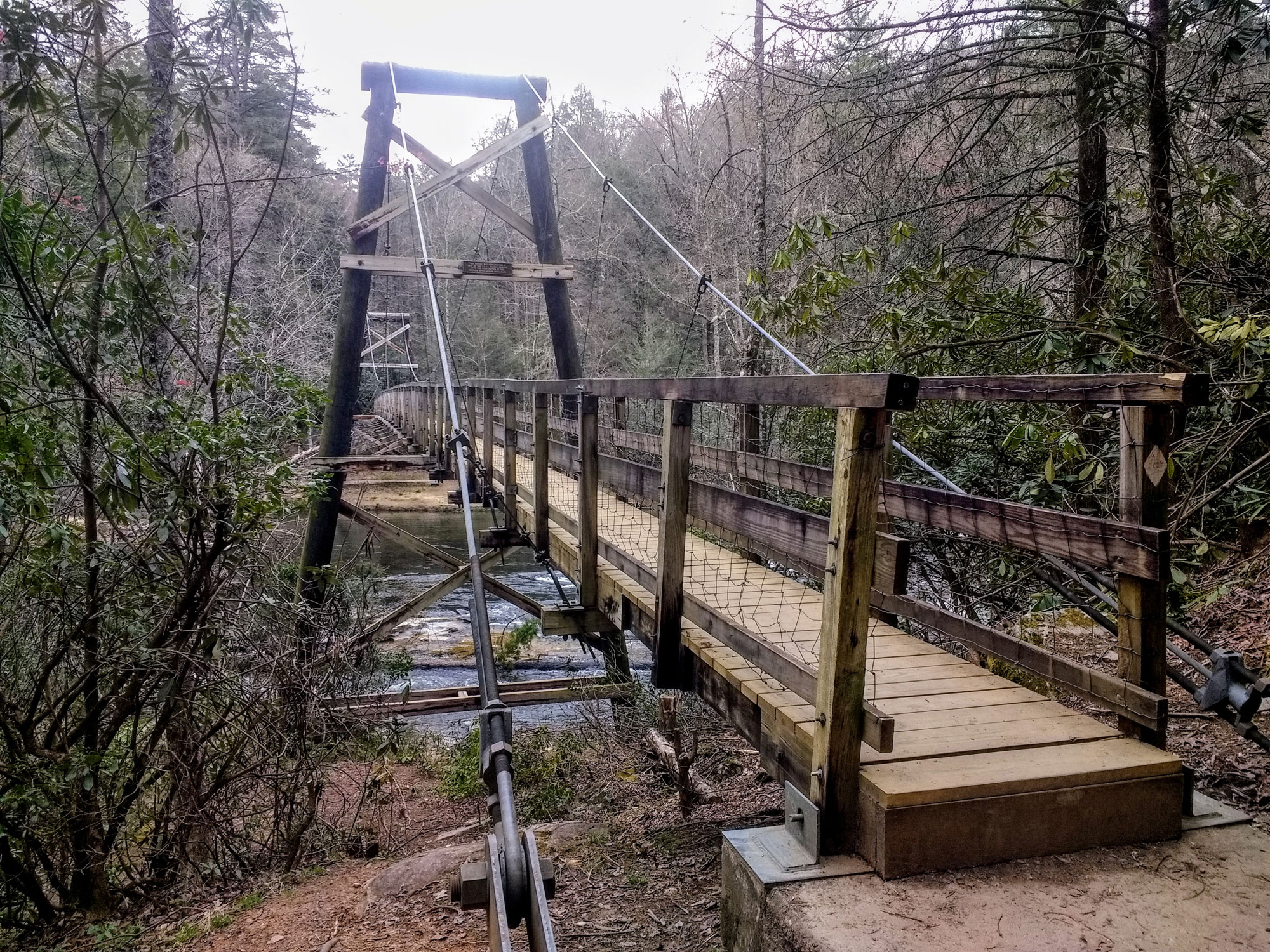 The Toccoa River Swinging Bridge, located in the Chattahoochee National Forest is a favorite spot on the BMT.   Credit: Karen Miller
