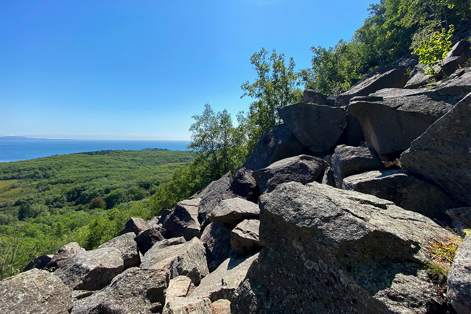 The boulder field marks the beginning (and the end) of the Precipice Trail's more challenging terrain.   Credit: John Lepak