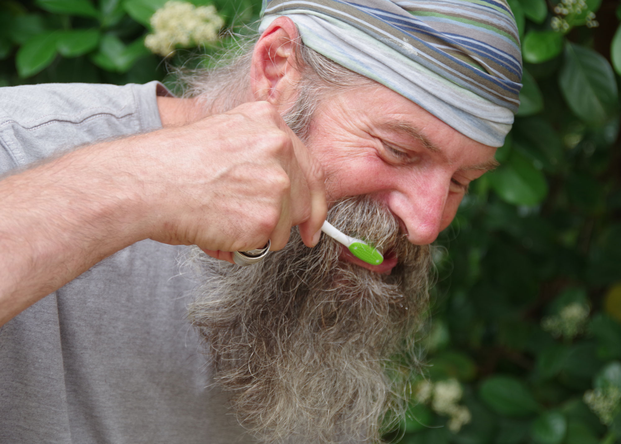 Hikers should brush their teeth 2 to 3 times per day, just as they would at home.   Credit: Karen Miller